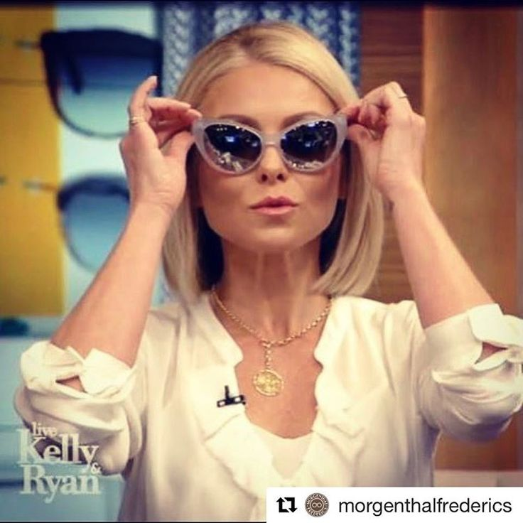 """IN STORE NOW!! ・・・  @kellyripa looking summer-ready on Live with Kelly and Ryan's """"Summer Eyewear Trends with Vogue's Selby Drummond"""" segment yesterday. #signaturestyle #handmade #styleicon #summer @livekellyandryan"""