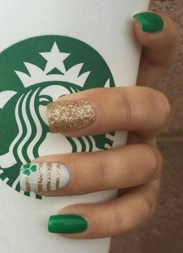 Cute St. Patty's Day nails.