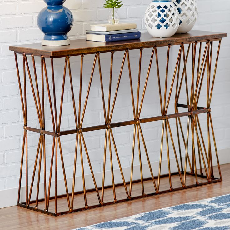 Features:  -Metal frame.  -MDF surface.  -Color: Metallic bronze.  Top Finish: -Copper bronze.  Top Material: -Manufactured wood.  Base Material: -Metal. Dimensions:  Overall Height - Top to Bottom: -