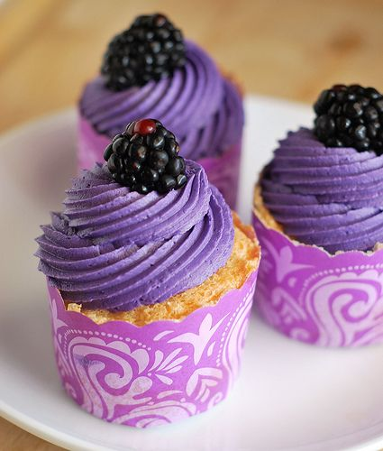 Angel food cupcakes with blackberry frosting!