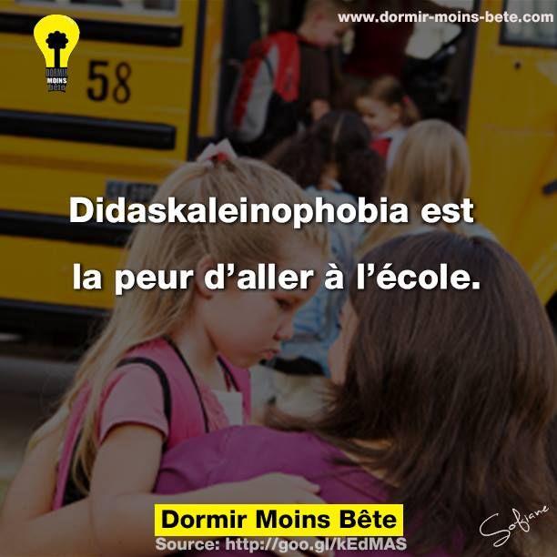 Didaskaleinophobia est la peur d'aller à l'école.
