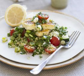 Grilled Recipes: Herb tabbouleh with grilled halloumi - How to make Herb tabbouleh with grilled halloumi