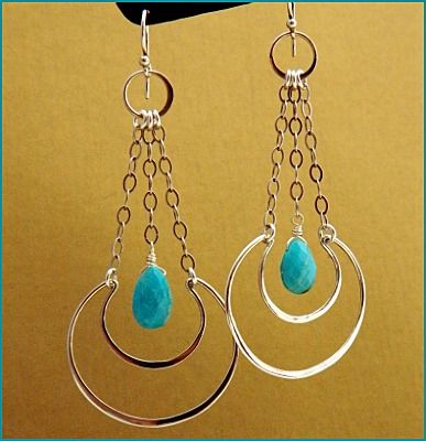 Turn Heads with these light Silver Earrings. Make your own. All supplies at http://www.ninadesigns.com/jewelry_design_ideas/crescent_moon_silver_earrings.html