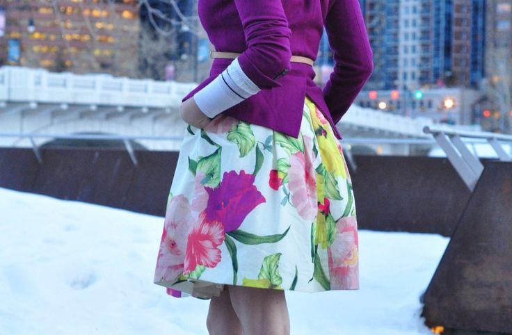 31 - Ted Baker floral skirt - purple outfit ideas - purple blazer