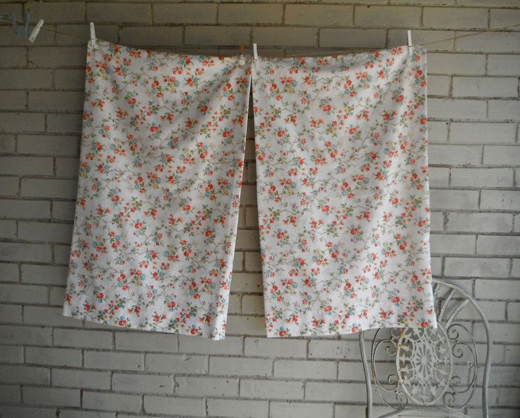 floral pillowcases vintage wabasso pillow case shabby decor bedroom decor one pair pillowcases pillow case red flowers 33 x 21 inch by ShabbyRoad on Etsy