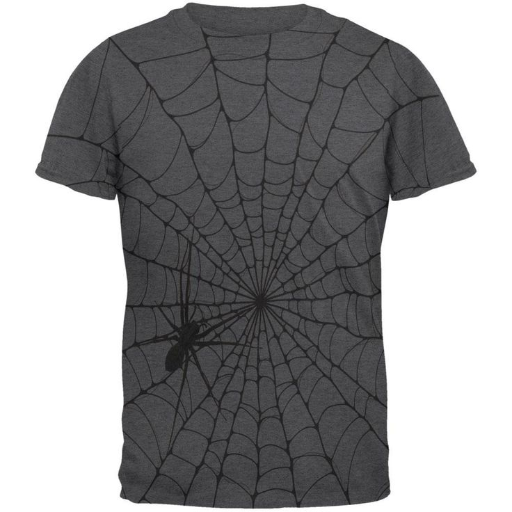 Halloween Giant House Spider Spider Web All Over Dark Heather Adult T-Shirt