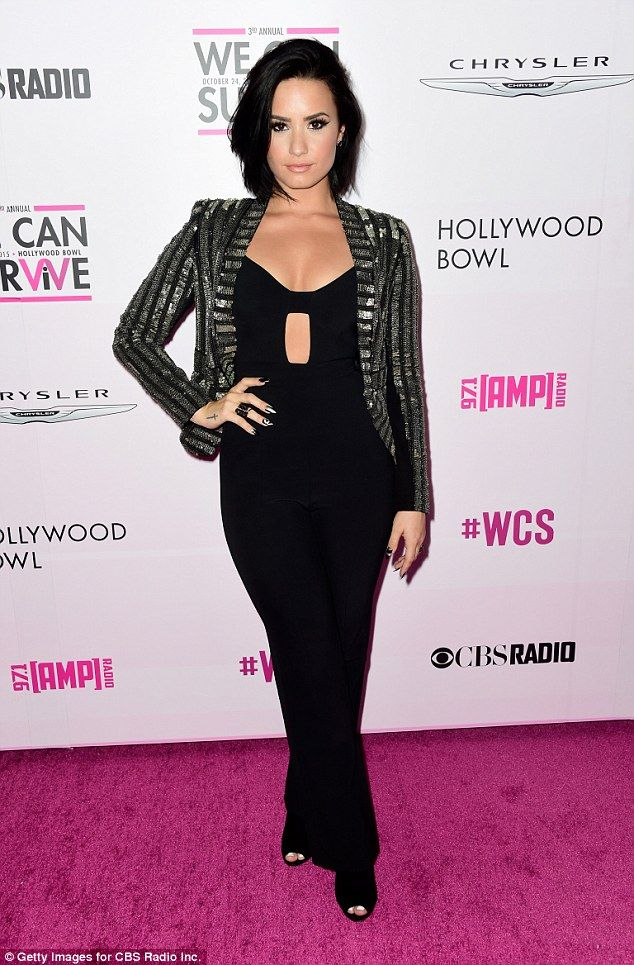 Demi Lovato glitters in peekaboo jumpsuit before performing during Breast Cancer fundraiser at Hollywood Bowl | Daily Mail Online