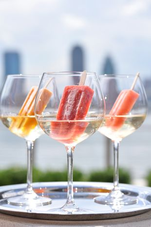 Boozy Popsicle by Anthony Zamora, Conrad NY, via bizbash: Served in a prosecco-filled wine glass. #Popsicle #Prosecco