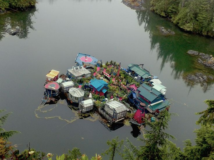 A Canadian couple's self-sustaining floating island pictured 2015 #greenbuilding #greenlifestyle