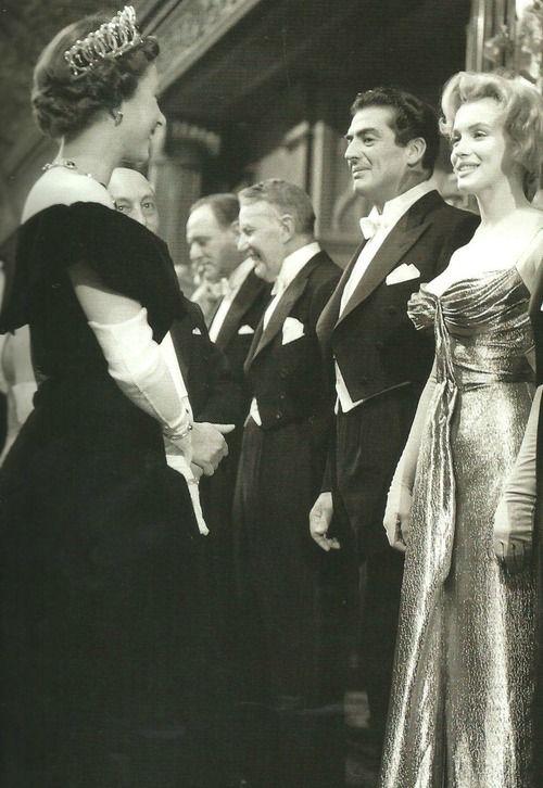 Marilyn Monroe Meeting Queen Elizabeth Ii At The Empire