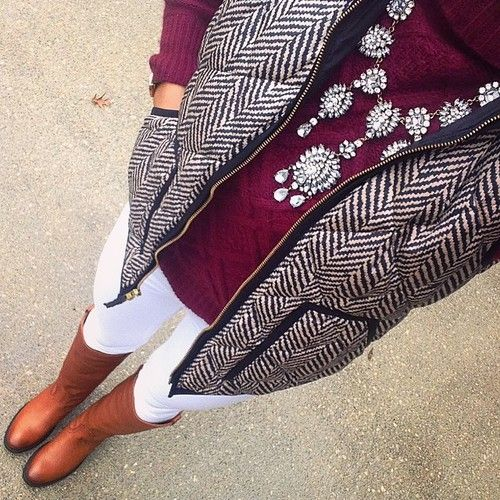 Burgundy Sweater | Puffer Vest | Statement Necklace | Riding Boots | Preppy Outfit | Classy Outfit