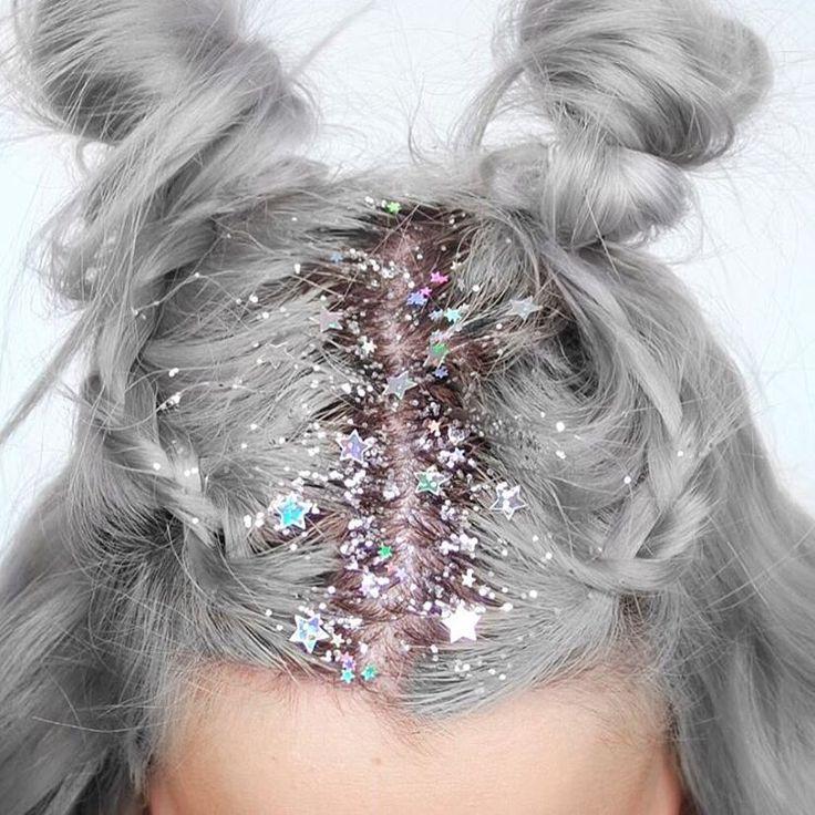 """""""GLITTTTTTAAA 4 eva~~*  #glitterroots #silverhair"""""""