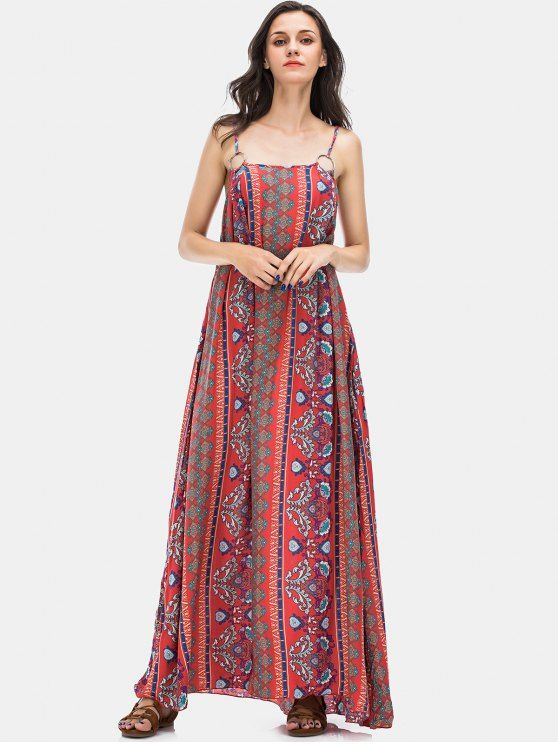 53d84263182 Vacation Floral Print Maxi Slip Dress - RED S