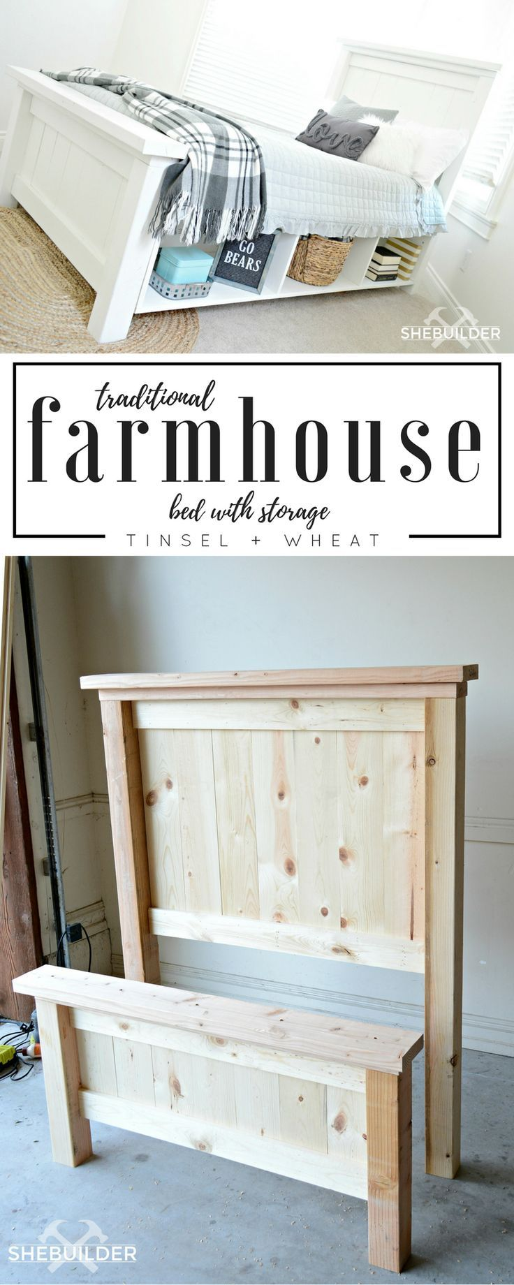 DIY Traditional Farmhouse Bed with Storage - Tinsel + Wheat