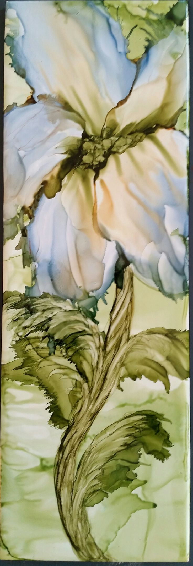 Flower in alcohol ink on long 12x4 ceramic tile by Tina