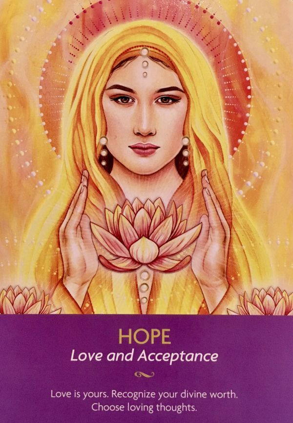 "April 12/2017 Daily Angel Oracle Card: Hope, from the Keepers Of The Light, by Kyle Gray, Artwork by Lily Moses Hope: ""Love and Acceptance"" ""Love is yours. Recognize your divine worth. Choose l…"