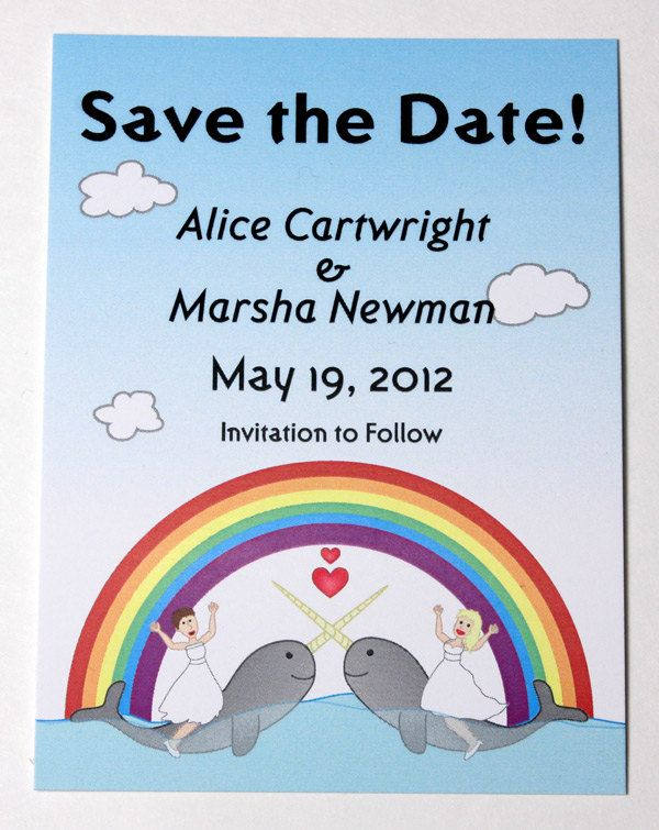 Narwhal Save the Date Card Lesbian Couple  by AwesomeSauceDesigns, $40.00