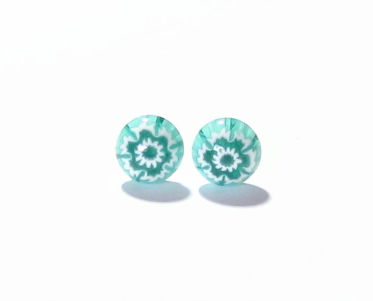 Murano Millefiori Sea Green Sterling Silver Post Earrings, Studs