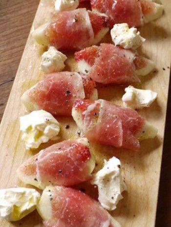いちじく料理によく登場する生ハム。甘酸っぱいいちじくに生ハムの塩気がベストマッチ!クリームチーズと合わせて、お手軽におしゃれなおつまみの出来上がりです。