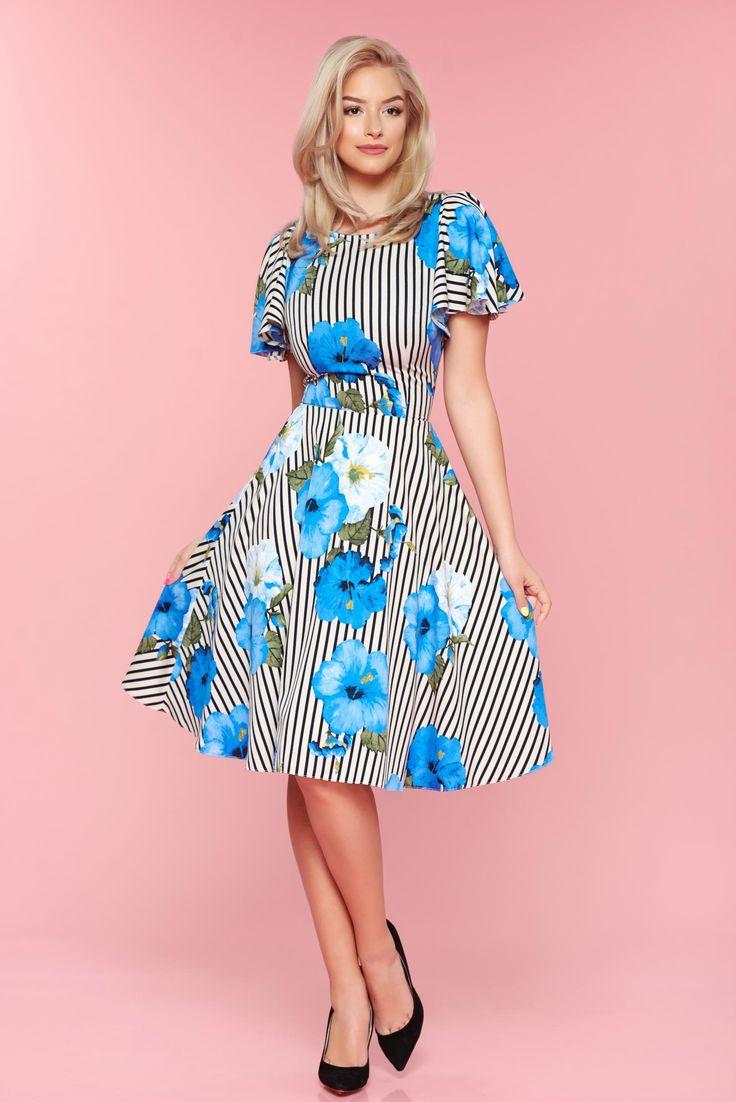 Comanda online, Rochie cu imprimeu floral LaDonna albastra cu dungi verticale in clos. Articole masurate, calitate garantata!