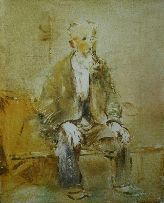 """71. Татлин Владимир """"Старик"""" 1947 Холст, масло 55х44,5 Государственный Русский музей"""