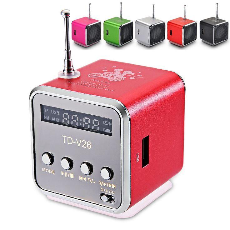 Td-v26デジタルラジオミニスピーカーポータブルラジオfm受信機充電式バッテリーサポートsd/tfcard音楽プレイ送料無料