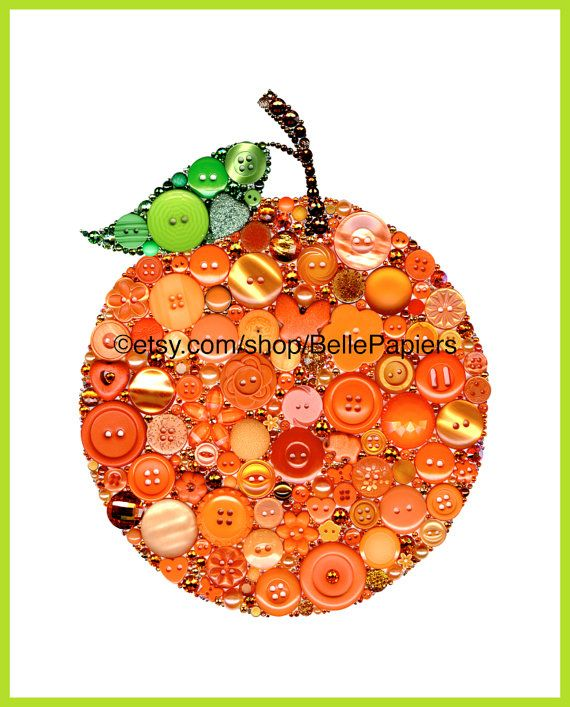 Button Art Orange Fruit Buttons and Swarovski by BellePapiers