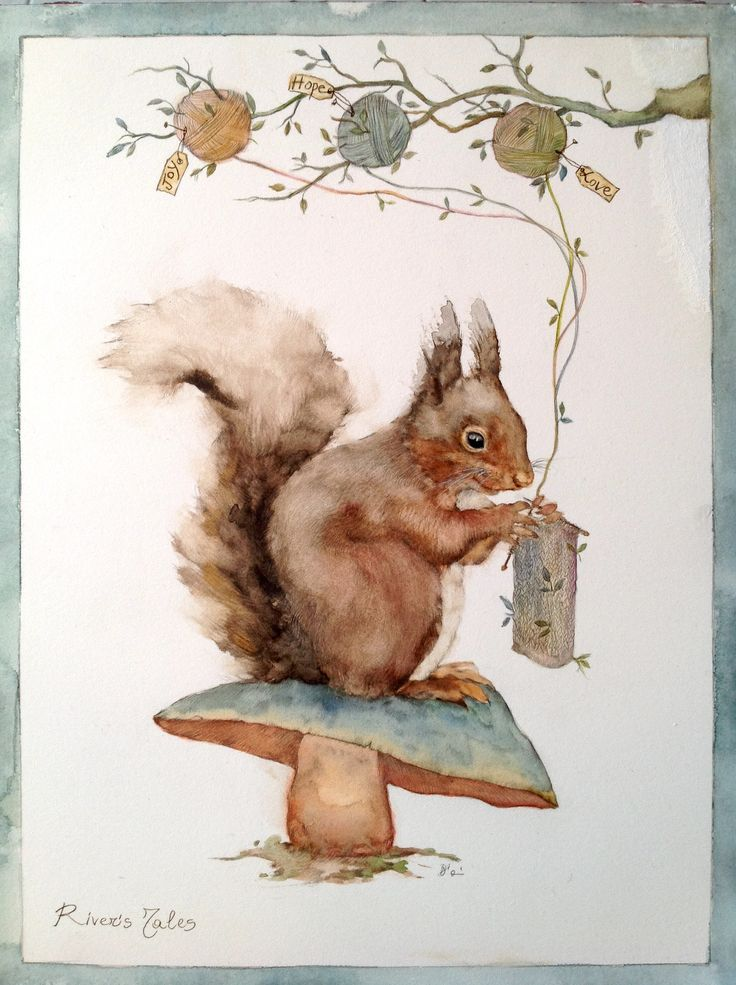 #squirrel #watercolor #illustration #knitting