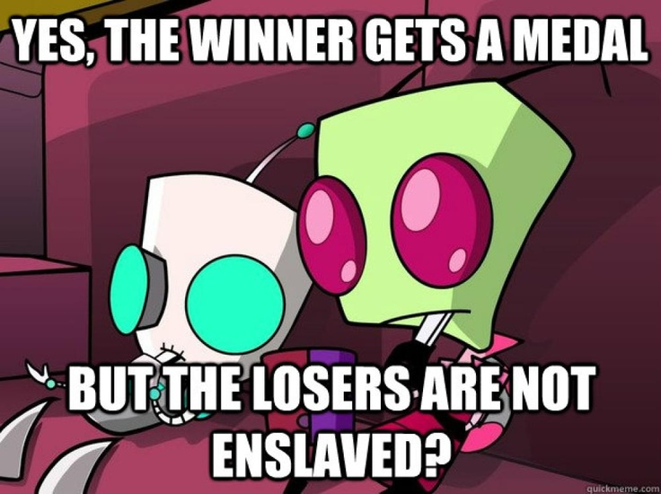 Confused Invader Zim watching the Olympics