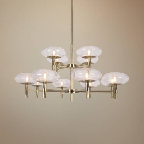Grand 42″ Wide Brushed Brass 12-Light LED Chandelier