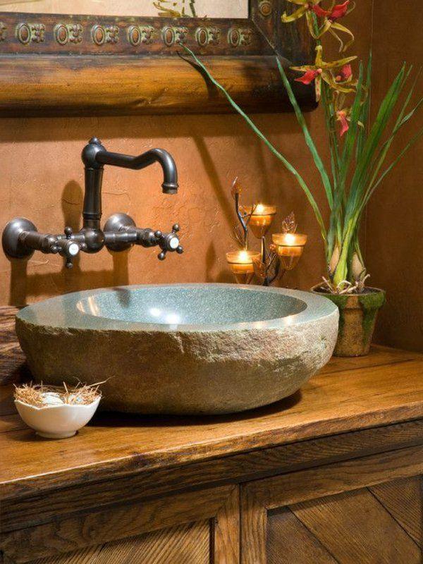 La vasque en pierre en 72 photos vasque pierre robinet - Vasque de salle de bain en pierre ...