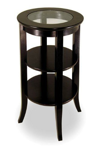 Winsome Genoa Espresso Wood End Table With Glass Top By Winsome. Save 44  Off!