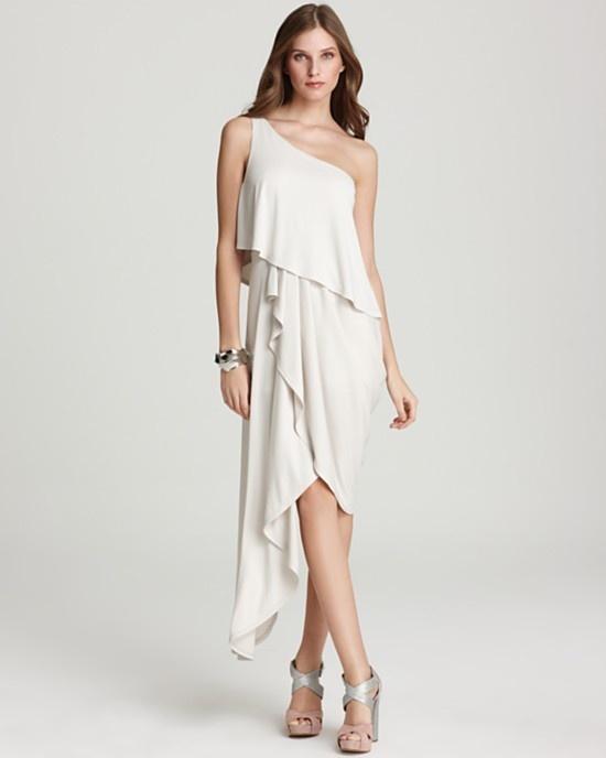 New BCBG Gardenia Katrina One Shoulder Asymmetrical Dress