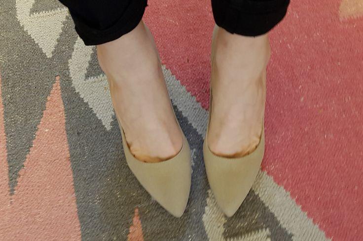 Olsenhaus neutral vegan microsuede pointy heels, cuffed black jeans