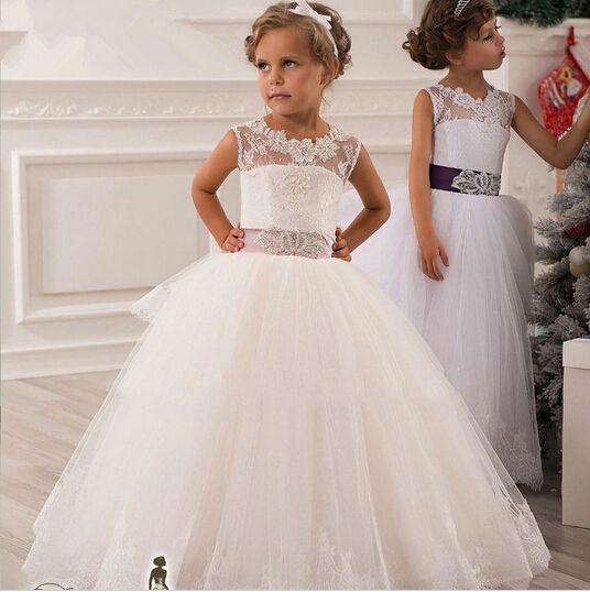 Caliente de Imagen Real de Marfil Blanco de Encaje de Flores Vestidos de Las Muchachas 2016 vestido de Bola de la Correa de Longitud de Las Muchachas Primera Comunión Vestido de La Princesa vestido