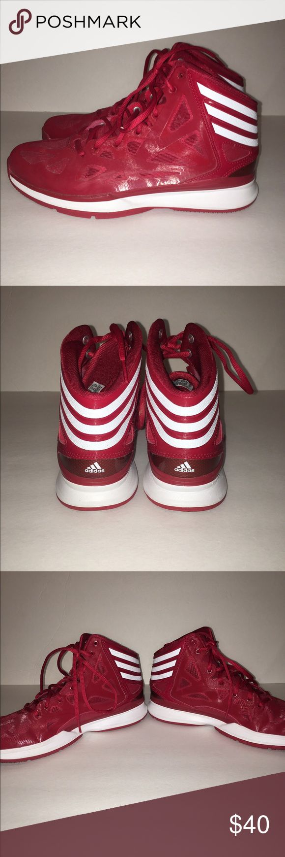 Adidas basketball shoes Men's 7.5 Adidas basketball shoes size 7.5 men's. Great condition. Worn one basketball season indoors. Red and white. Adidas Shoes Sneakers