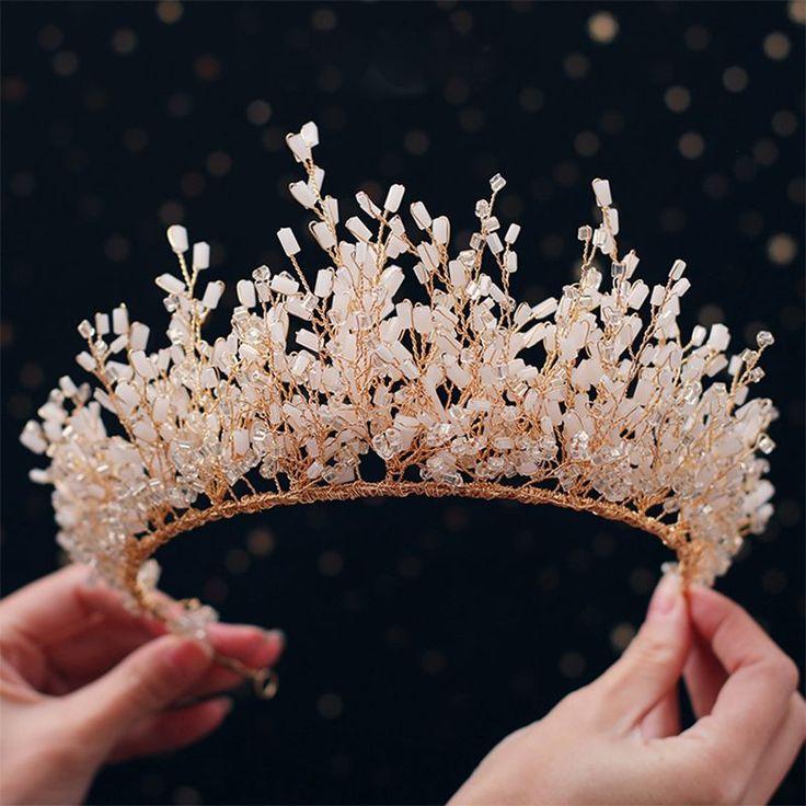 Luxe / Magnifique Or Tiara 2019 Cristal En Métal Perlant Accessoires De Cheveux De Mariée