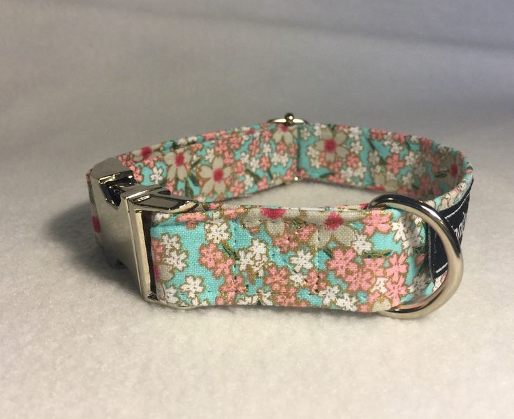 A personal favourite from my Etsy shop https://www.etsy.com/au/listing/277636648/baby-blue-and-pink-flowers-dog-collar