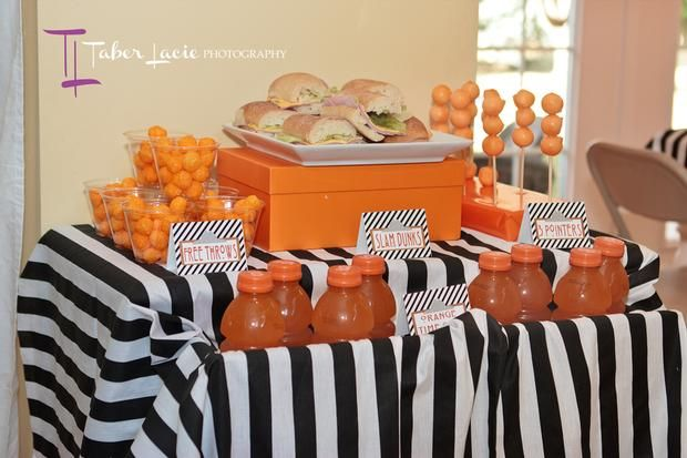basketball themed party- Referee material covered table