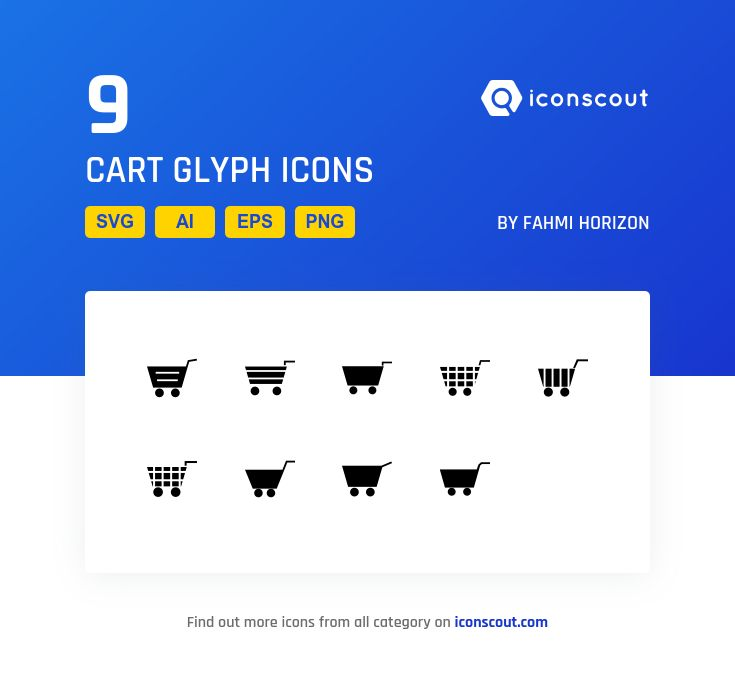 CART GLYPH  Icon Pack - 9 Solid Icons