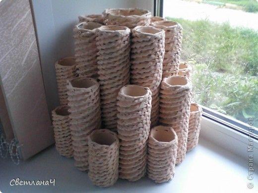 Поделка изделие Плетение Пирамида - для газетной лозы Бумага газетная фото 1