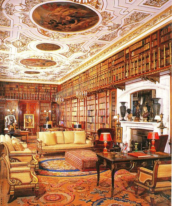 The largest and most ornate of the six libraries at Chatsworth House in Derbyshire, England – often selected as England's favorite country house. It is the largest private library in England with almost 27,000 books collected during several centuries. The old library has 17,000 books from the first seven Dukes of Devonshire. The newer private family library (shown in the third photo occupied by the 11th Duke, who died in 2004) has a collection of almost 10,000 books ....