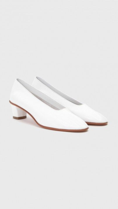 Martiniano High Heeled Glove Slipper in White | The Dreslyn