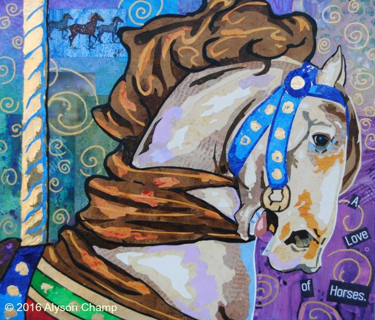 'A Love of Horses' by Alyson Champ 12x14 collage on panel.