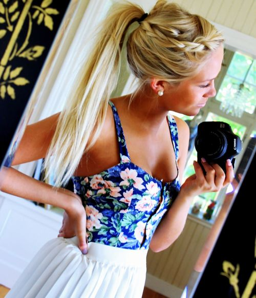 love her hair: Pony Tail, Blonde, Ponytail, Hairstyles, Hair Styles, Color, Makeup, Beauty