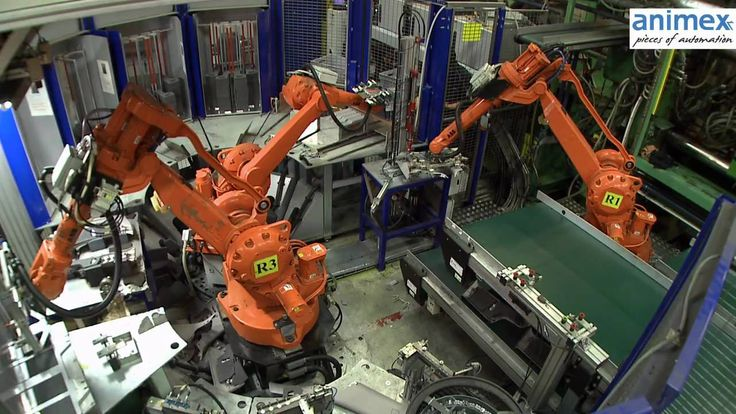 Animex Xflex cell with 3 ABB robots clip assembly