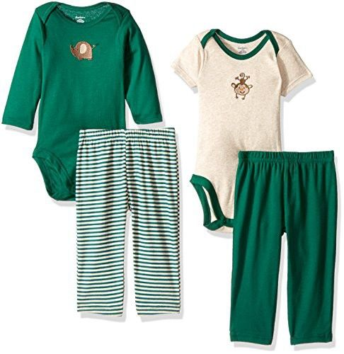 Gerber Baby Boy 4 Piece Bodysuit and Pant Set, monkey, 12 Months