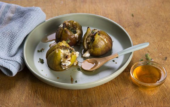 Baked Stuffed Figs with Curd and Walnuts - Maggie Beer