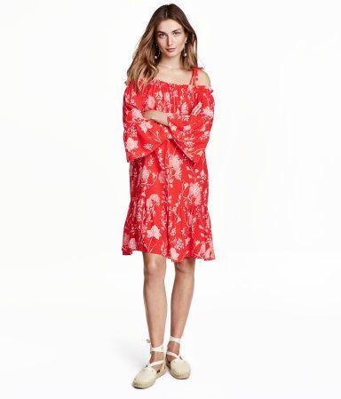 Off-Shoulder-Kleid | Rot/Geblümt | Damen | H&M DE