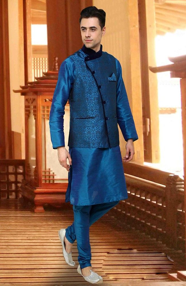 Glorious Peacock Blue Kurta Pyjama set With Jacket